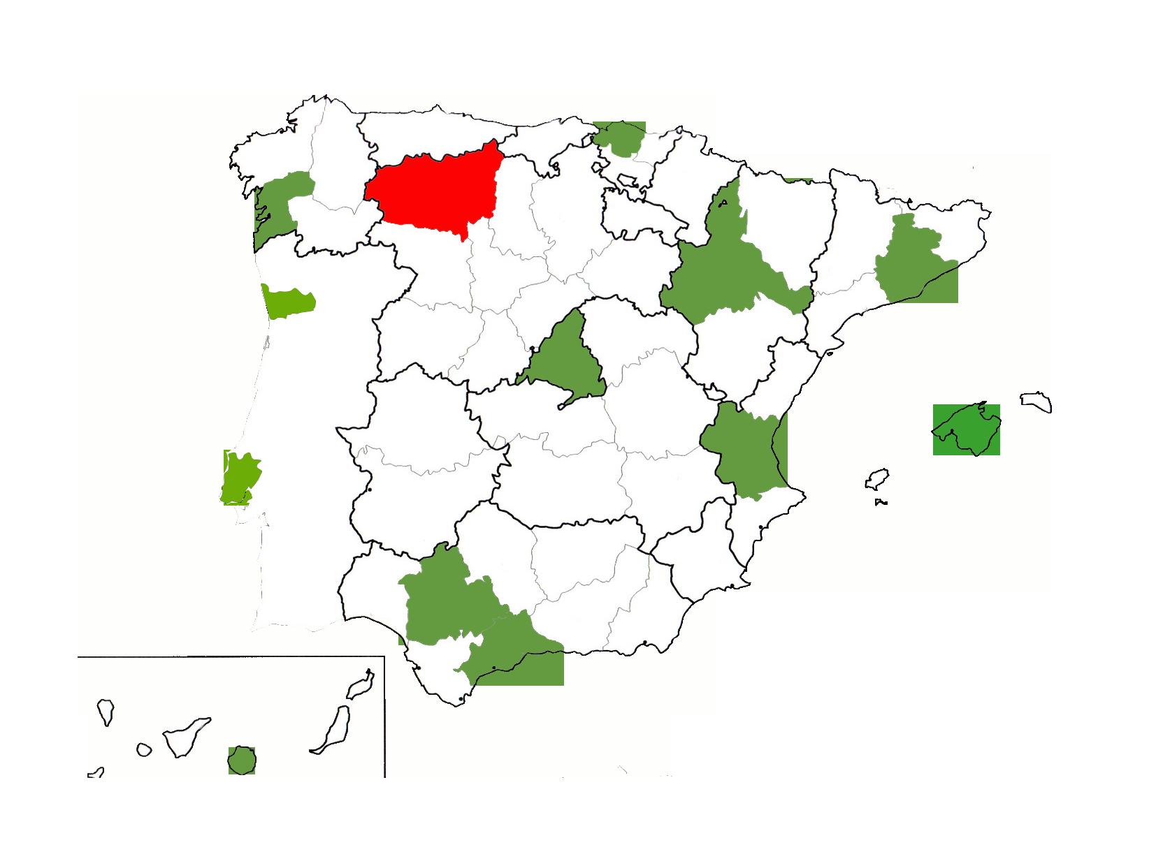 MAPA ESPAÑA DELEGACIONES