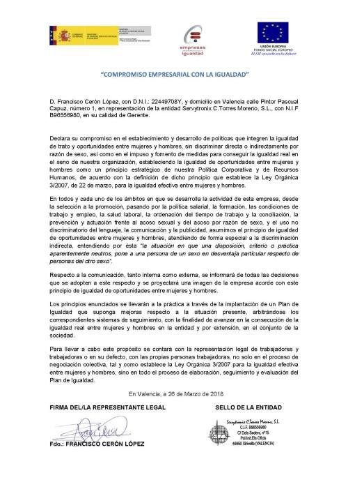 Compromiso Empresarial Igualdad Servytronix S.L